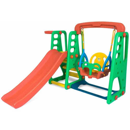 Купить Детский игровой комплекс Happy Box JM-1002 SMART PARK для дома и улицы: 2 детские горки, баскетбольное кольцо с мячом, подвесные качели, игровой домик-манеж (производитель Южная Корея), Игровые и спортивные комплексы и горки