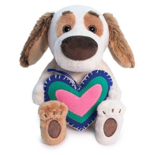 Мягкая игрушка Basik&Co Пёс Бартоломей baby с сердечком из флиса 20 см