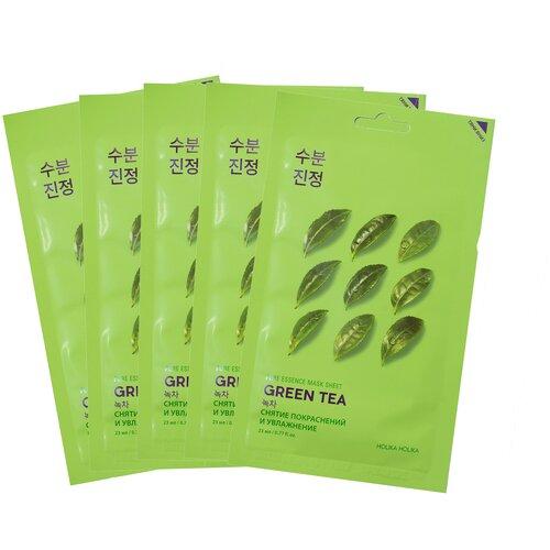 Holika Holika Набор противовоспалительных тканевых масок для лица с зеленым чаем Pure Essence Mask Sheet Green Tea 20 мл*5 шт недорого