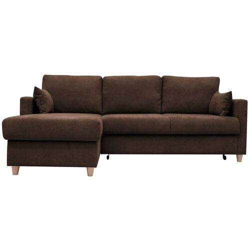 Угловой диван Нижегородмебель и К Дилан угловой угол: универсальное, размер: 230х160 см, спальное место: 210х157 см, обивка: ткань, коричневый