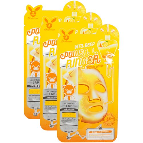 Elizavecca Тканевая маска Vita Deep Power Ringer Mask Pack, 23 мл, 3 уп. недорого