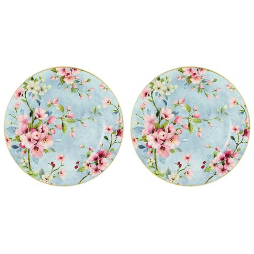 Elan gallery Набор десертных тарелок Яблоневый цвет на голубом 19 см, 2 шт голубой недорого