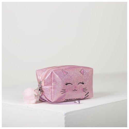 Косметичка дорожная Киса, 18*7,5*10см, отд на молнии с ручкой, розовый 4606433