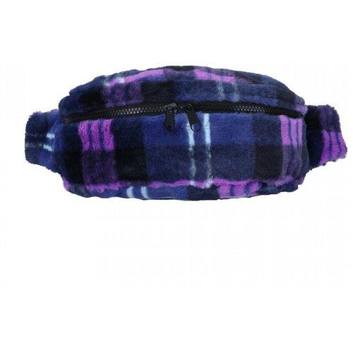Поясная сумка женская OrsOro, искусственный мех, клетка сине-сиреневая