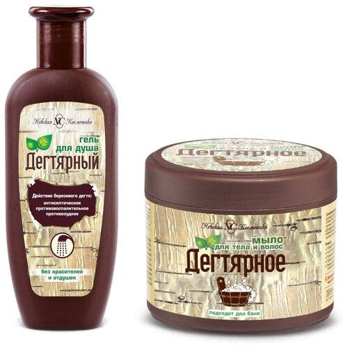 Невская Косметика Гель для душа Дегтярный + Мыло для тела и волос Дегтярное