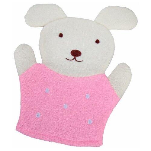 Фото - Мочалка «Доляна» Дружок (4694156) белый/розовый мочалка доляна медвежонок 4442512 коричневый красный