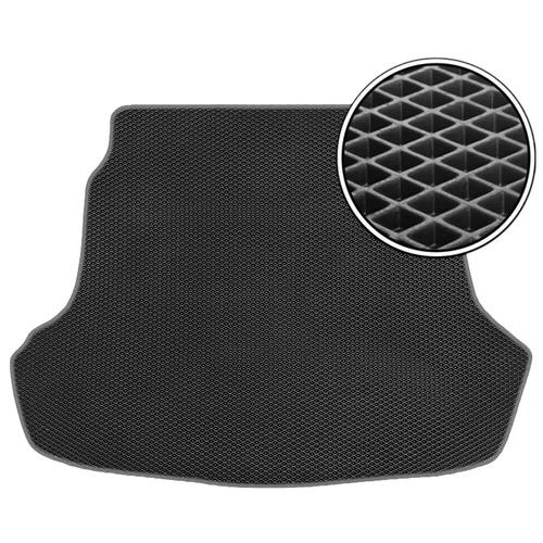 Автомобильный коврик в багажник ЕВА BMW X7 2019- наст.время (багажник) со сложенным 3м рядом (темно-серый кант) ViceCar