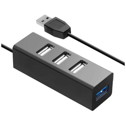 USB-концентратор Ginzzu GR-339UB, разъемов: 4, черный
