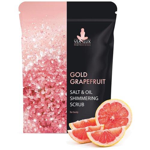 Скраб для тела Vealux Gold Grapefruit с розовой солью, мерцающий, 200 г
