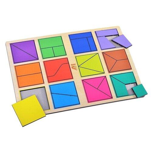 Рамка-вкладыш Деревянные игрушки Сложи квадрат 1 уровень (ДИ017)