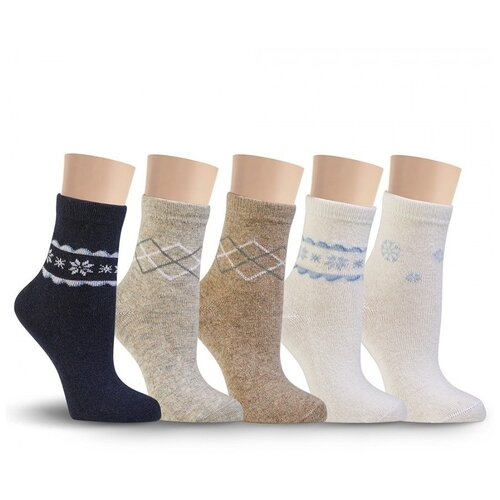 Носки женские с рисунком LorenzLine В27 (ангора+шерсть), Синий, 23 (размер обуви 36-37)