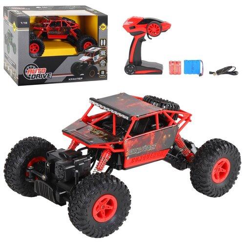 Купить Машинка детская на радиоуправлении Краулер ТМ AUTODRIVE, М 1:18 2.4G, 4WD, с зарядкой, 5 каналов, цвет красный, в/к 32*18*23см, Радиоуправляемые игрушки