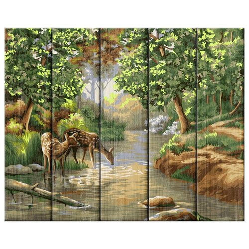 Greenwich Line Картина по номерам на дереве Утро в лесу, 40х50 см (КД_30553) картина по номерам 40х50 см леопард в лесу gx8340