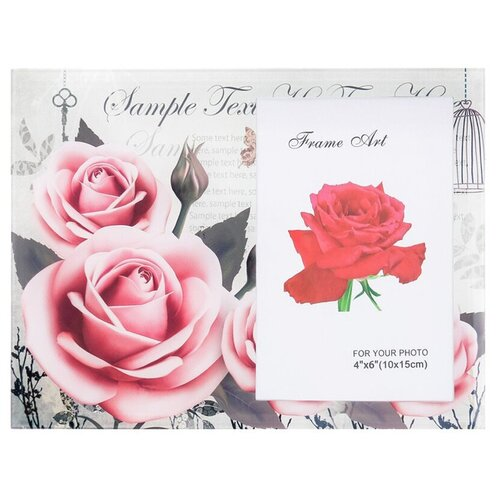 Фоторамка Yiwu Zhousima Crafts Розы винтаж 17х22 см серый/розовый