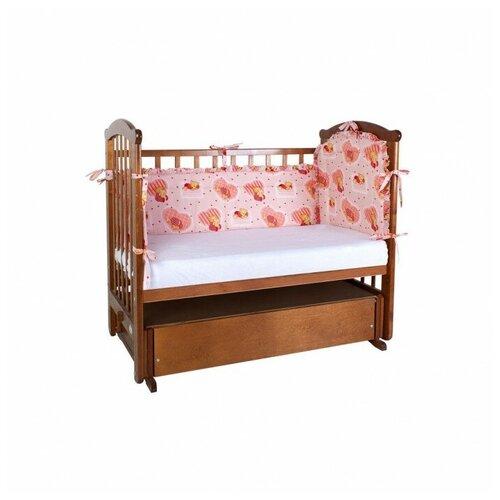 Ангелочки Бортик для кроватки низкий раздельный розовый ангелочки влюблены