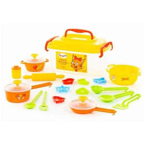 Набор посуды Полесье Три кота 72931 желтый набор полесье три кота буквы на магнитах 66 шт 69924