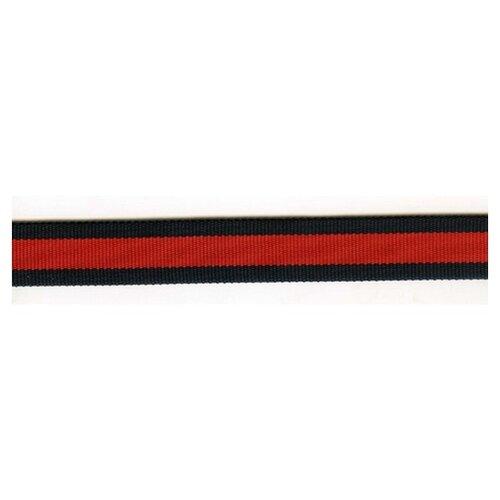 Тесьма ременная (стропа) PEGA черная с красной полосой, 25 мм 100% полиамид
