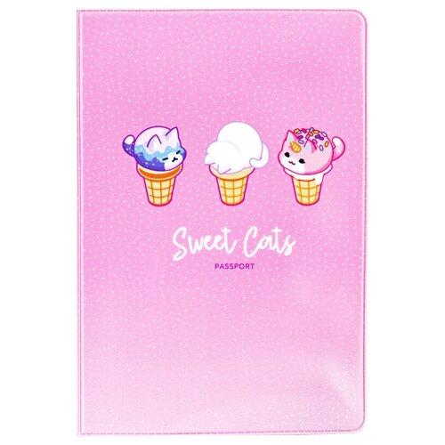 Обложка для паспорта MESHU Sweet cats, розовый