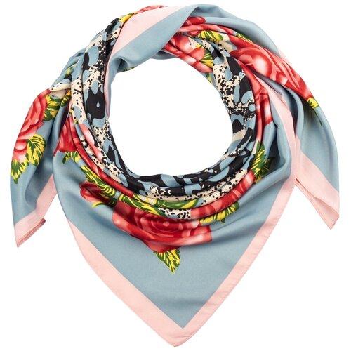 Шелковый платок на шею/Платок шелковый на голову/женский/Шейный шелковый платок/стильный/модный /21kdg85326-849a6vr голубой,розовый/Vittorio Richi/100% шелк/90x90