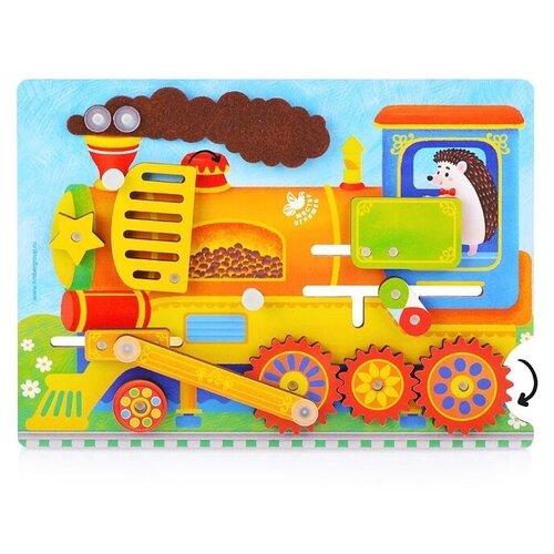 Купить Бизиборд Мастер игрушек Паровозик (IG0362) оранжевый, Развитие мелкой моторики