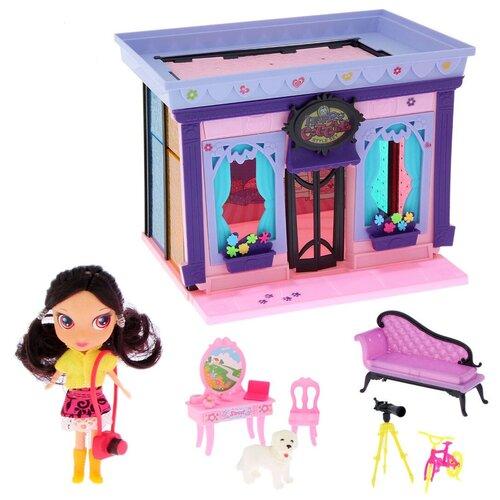 Домик кукольный для девочек с мебелью 5001 HAPPY COTTAGE, 120 деталей, куколка, велосипед, собачка, 53х35х7 см