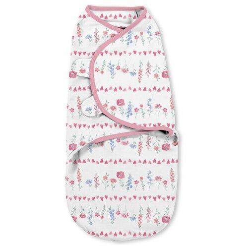 Купить Конверт для пеленания на липучке SwaddleMe (бело-розовый/цветочки), размер S/М, Summer Infant, Конверты и спальные мешки