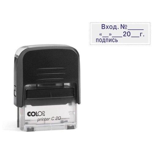 Фото - Штамп COLOP Printer C20 3.7 Вход. № , дата и подпись, прямоугольный синий черный штамп colop printer с20 прямоугольный копия верна синий