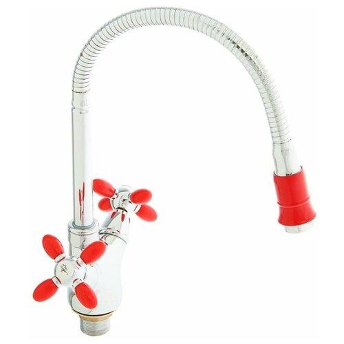 Смеситель для кухни (мойки) Accoona H82 A4882 color красный/хром смеситель для кухни мойки accoona h82 a4882 color черный хром