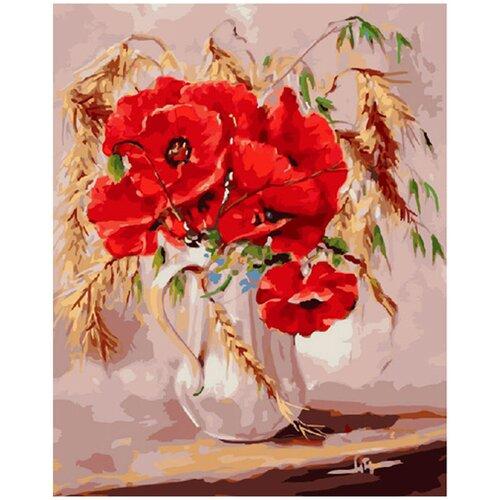 Купить Картина по номерам Molly 40х50 см Маки во ржи, Картины по номерам и контурам