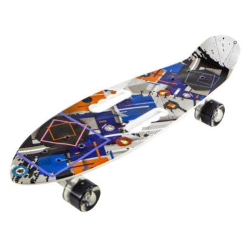 детский лонгборд navigator т17044 26x8 синий Скейт детский Navigator пластик, светящиеся колеса, 67х20х15см, 2 ручки для переноски Т17044