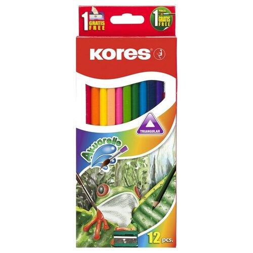 Карандаши цветные 12цв 3-гран,акварельные,кисть,точилка Kores 93812