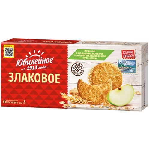 Печенье Юбилейное с цельнозерновыми злаками и с яблочными кусочками, 171 г