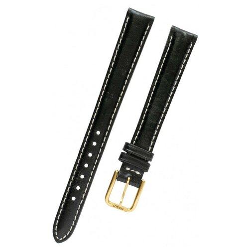 T600013336 Ремешок черный, теленок, 12/10, белая прострочка, желтая пряжка, PR 50 NEW для часов TISSOT 0 pr на 100