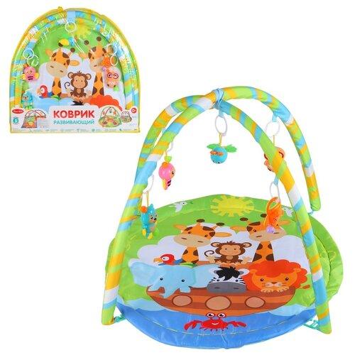 Детский коврик развивающий для малышей Smart Baby с подвесками-погремушками, коврик для ползания детский, коврик для детей, игровой коврик детский, коврик для малышей, коврик для ребенка, коврик для детей игровой, мягкий, размер 82 х 64 см, зеленый