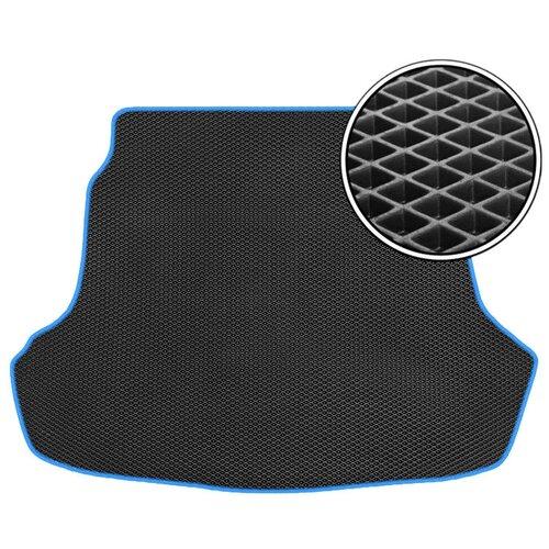 Автомобильный коврик в багажник ЕВА Volkswagen Polo V (седан) 2010 - 2020 (багажник) (синий кант) ViceCar
