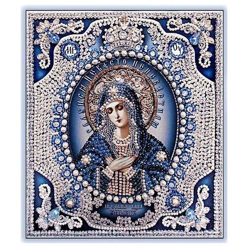 Купить Набор для вышивания хрустальными бусинами и настоящими камнями, Образа в каменьях, Икона Божия Матерь Умиление - 2 (жемчуг Майорика ), Наборы для вышивания