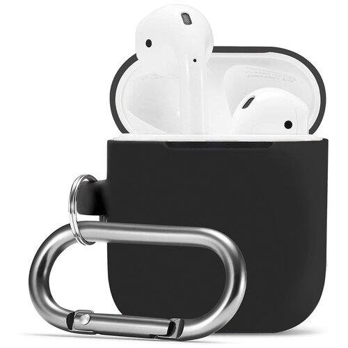 Чехол для наушников Apple AirPods, AirPods 2 с карабином / Чехол на кейс Эпл ЭирПодс 2 с поддержкой беспроводной зарядки / Силиконовый чехол для беспроводных блютуз наушников (Black)