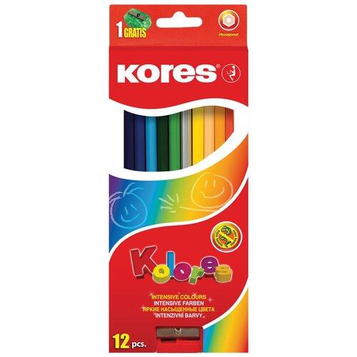 Карандаши цветные Kores 12 цветов, 6-гранные, точилка