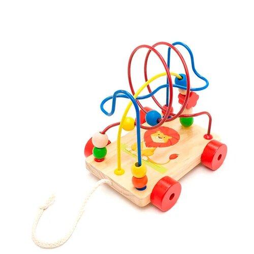Купить Каталка-игрушка Мир деревянных игрушек Лев (LL160) дерево/красный/желтый, Каталки и качалки