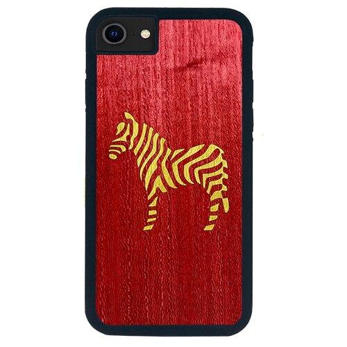 Чехол Timber&Cases для Apple iPhone SE 2020/7/8 TPU WILD collection - Зебра (Красный - Желтый Кото)