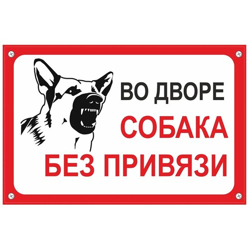 Табличка TPS004 Собака без привязи, пластик 3 мм,30*19,5 см