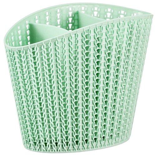 Фото - Сушилка для столовых приборов IDEA (М-Пластика) Вязание М 1166, 16x11x20 см подставка для столовых приборов пластиковая вязание idea м1166 чайная роза 16x11x20 см