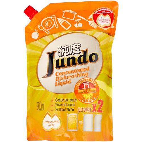 Jundo средство для мытья посуды и детских принадлежностей с гиалуроновой кислотой Juicy Lemon, 0.8 л гель для мытья посуды и детских принадлежностей jundo sakura с гиалуроновой кислотой концентрат 1 л