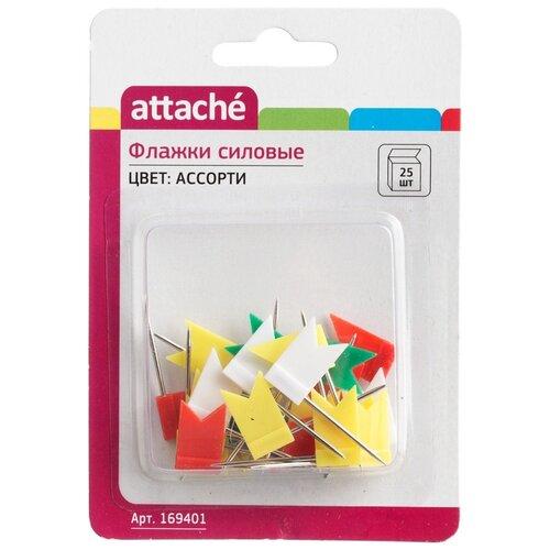 Attache Кнопки Флажки 169401 23.5 мм (25 шт.) ассорти, Скрепки, кнопки  - купить со скидкой