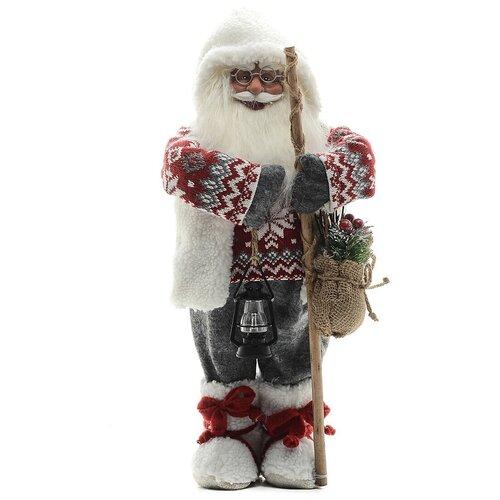 Фигурка Maxitoys Дед Мороз с посохом в свитере, 46 см белый/красный/серый фигурка maxitoys дед мороз в свитере со снежинкой и лыжами 32 см белый