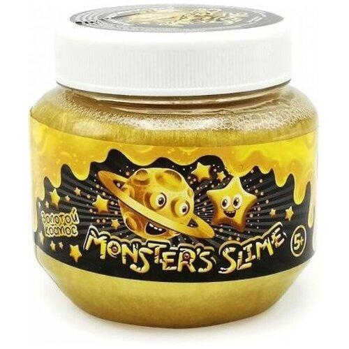 Лизун Monster's Slime Классический большой с блестками золотой космос