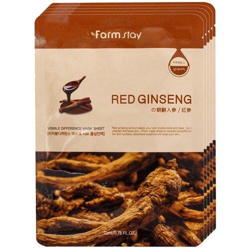 Farmstay Тканевая маска Visible Difference Mask Sheet Red Ginseng с экстрактом корня красного женьшеня, 23 мл, 5 шт. недорого