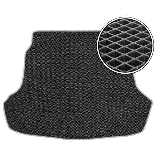 Автомобильный коврик в багажник ЕВА Kia Rio II 2005 - 2011 (багажник) (светло-серый кант) ViceCar
