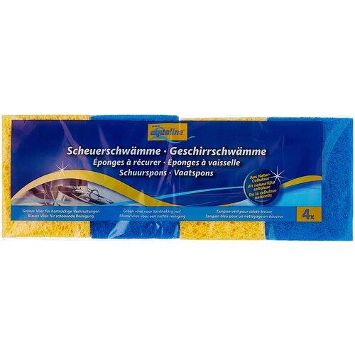 губка aqualine для мытья автомобиля Губка для мытья посуды aQualine из натуральной целлюлозы 4 шт., желтый/зеленый/салатовый/белый