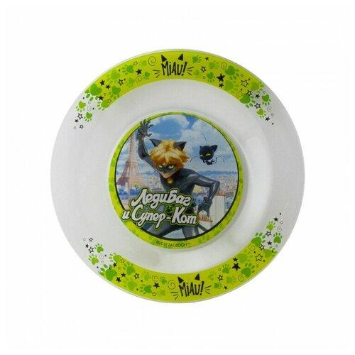 ND Play Тарелка Леди Баг и Супер Кот, Супер Кот 19,5 см белый/зеленый